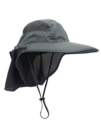 d62058a92a6 WANYING Unisex Outdoor Activities UV Protecting Sun Caps with Neck Flap  12cm Large Brim - Dark