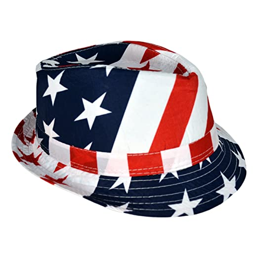 HDE USA American Flag Stingy Short Brim Trilby Fedora Hat Cap at ... 9c8a293eb50