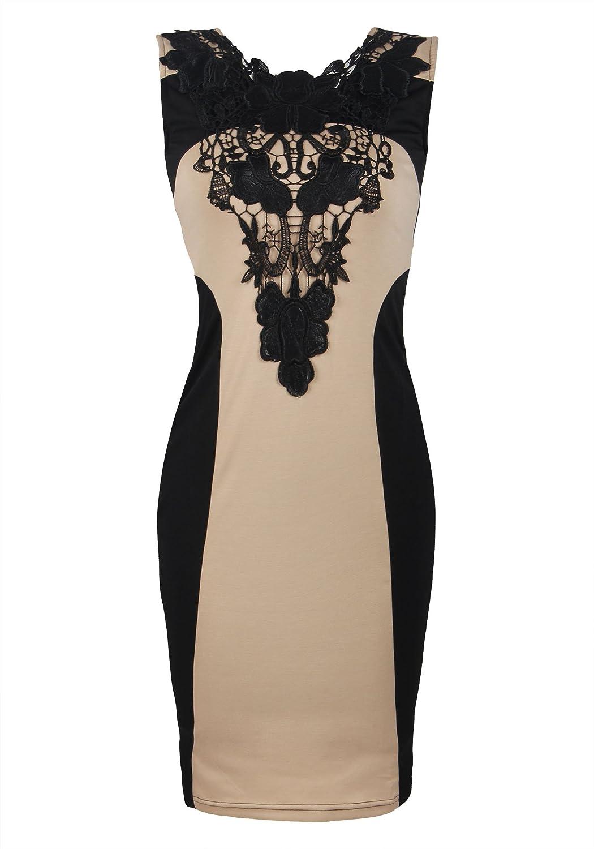 ReliBeauty Women鈥檚 Lace Splice Sleeveless Bodycon Dress