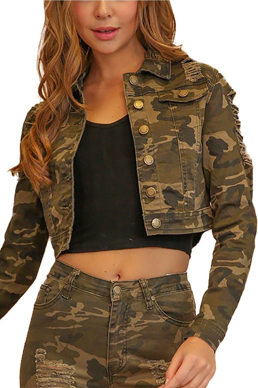 Womens Destroyed Stretch Denim Twill Fashion Button Down Short Jacket RJK-884 (Camo, S)