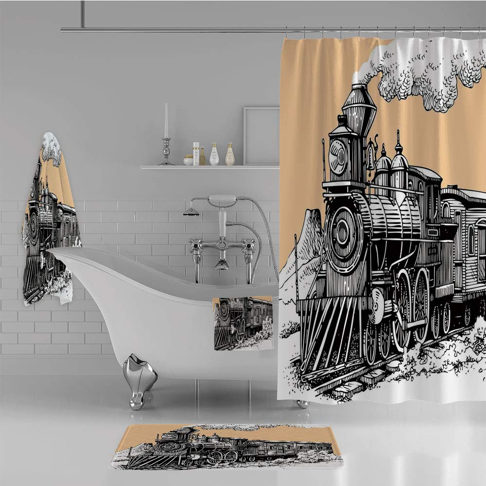 iPrint Bathroom 4 Piece Set Shower Curtain Floor mat Bath Towel 3D Print,Train Rail Wild West Wagon in Countryside Drawing,Fashion Personality Customization adds Color to Your Bathroom.