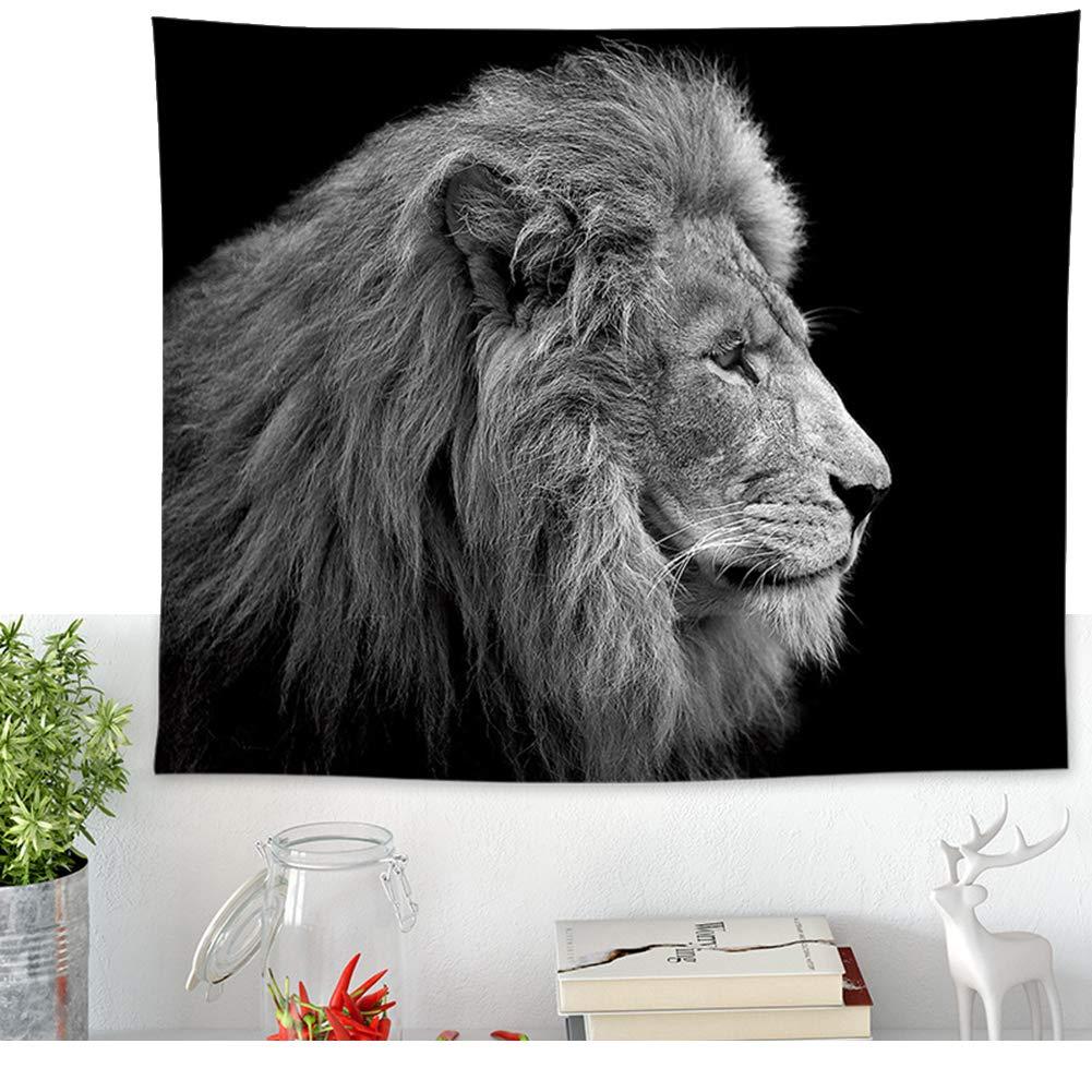 51in Motif 1 Tapisserie murale d/écorative Hippie Motif roi lion et mandala Noir//blanc 58