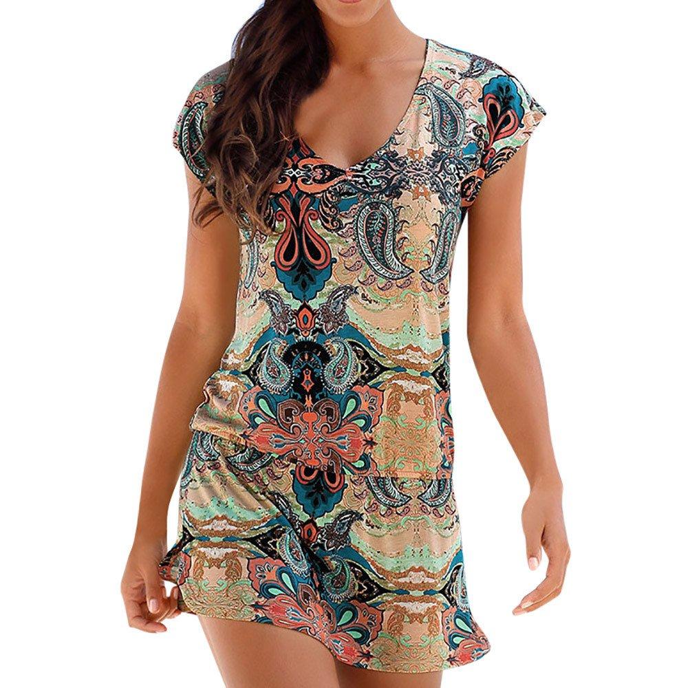 Vestidos de Mujer de la Vendimia Fresca Floral de impresión ...