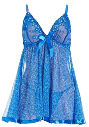 87baafdd042e Spree Intimates Women's Lace and Mesh Babydoll and Thong Set Blue Dots -  Blue -