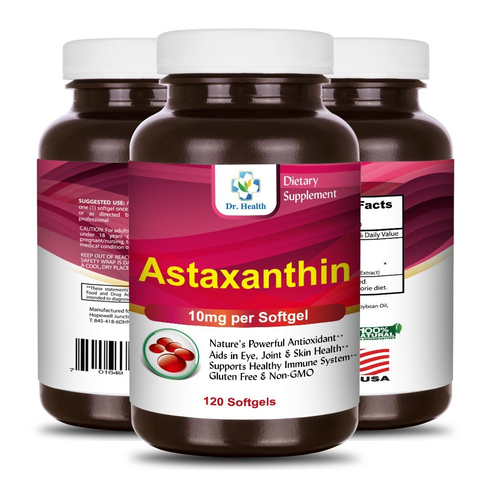 Astaxanthin 10mg 120 Softgels Powerful all Natural Antioxidant & Carotenoid High Purity Extra Strength Aids Eye, Brain, Joint, Skin, Heart Health & Anti-Aging (up to 4 months supply) by Dr.Health