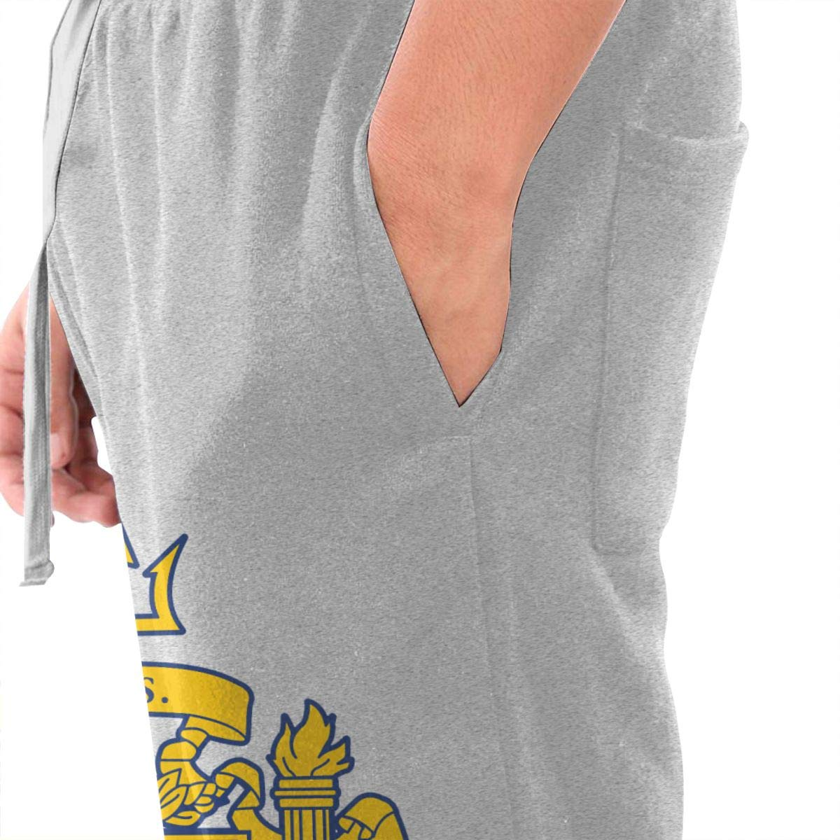 Dbou US Navy Naval Academy Logo Drawstring Waist,100/% Cotton,Elastic Waist Cuffed,Jogger Sweatpants Black