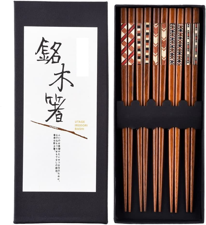 Japonés Palillos Palillos de madera 5 pares reutilizable Natural ...