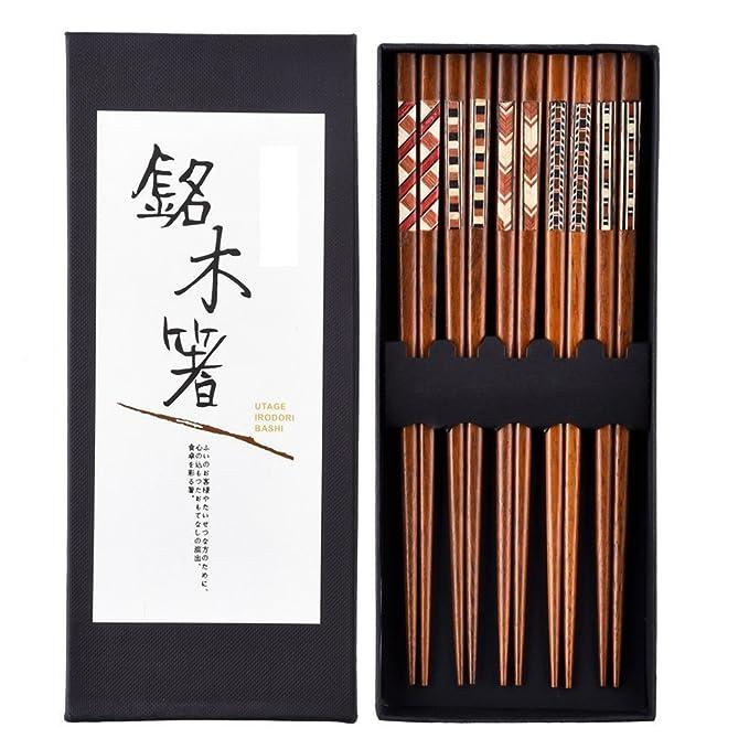 Japonés Palillos Palillos de madera 5 pares reutilizable Natural lavable para lavavajillas madera palillos chinos vajilla Set con caja de lujo negro ...