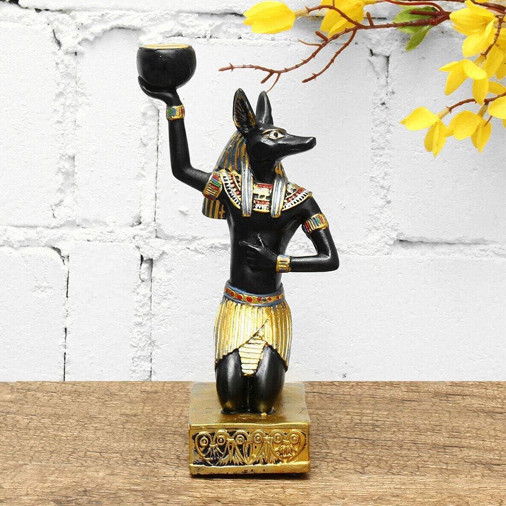 Ägypten Sphinx Anubis Göttin Kerzenhalter Statue Ägyptisch Skulptur Dekor DE