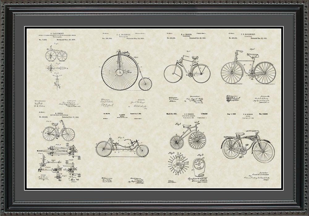 Bicycles Patent Collection Art | Bicyclist Biker Framed Wall Art Gift