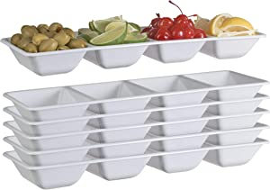 Exquisite 6 Count white Plastic Compartment Tray For Parties Heavy Duty Serving Tray With Compartments For Food Disposable Sectional Party Trays And Platters 7 In. X 16 In. Candy Dish