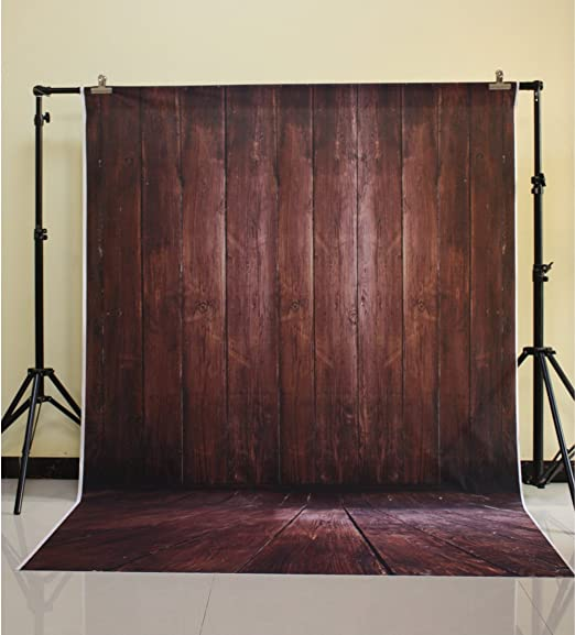 Muzi 5x7ft Photography Backdrop Paper Brown Wood Wall Collapsible Photo Props Studio Background XT-3639