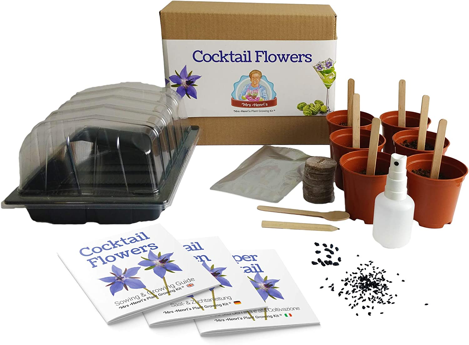 Flores para cócteles - Mrs Henris Plant Growing Kit. Cultiva 6 ...