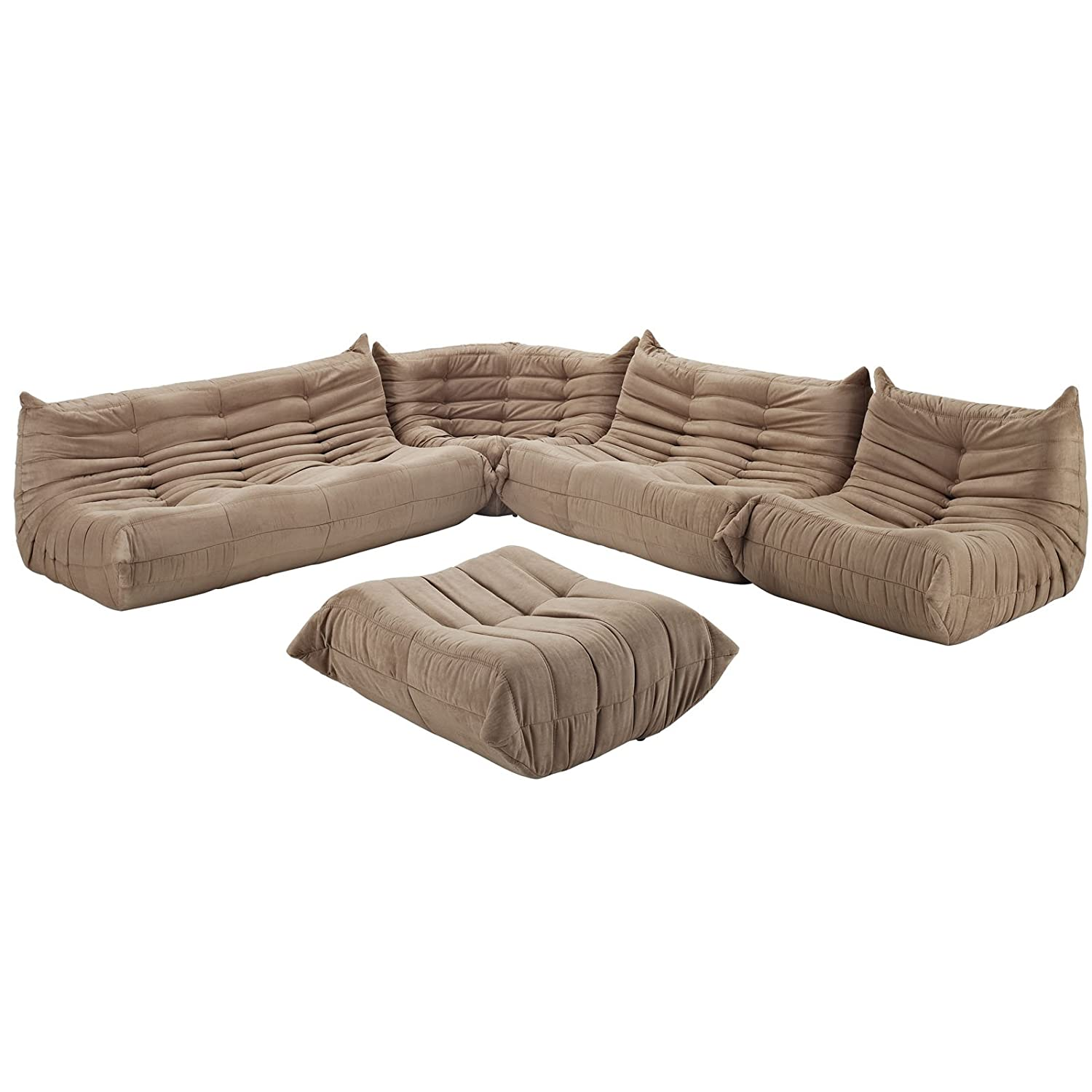 Amazon.com: Modway Modern Waverunner Modular Sectional Sofa Set, Brown,  5 Piece: Kitchen U0026 Dining