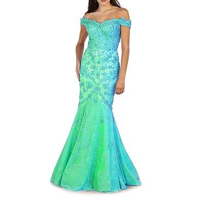 Jasminebridal Womens Mermaid Wedding Dresses Off Shoulders Prom Dresses 2018 Beading Evening Dresses Blue,2