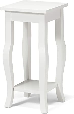 Amazon.com: Kate and Laurel Lillian Wood Pedestal End Table Curved