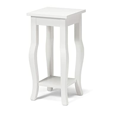 Kate and Laurel Lillian Wood Pedestal End Table Curved Legs with Shelf, 12  x 12  x 24 , True White