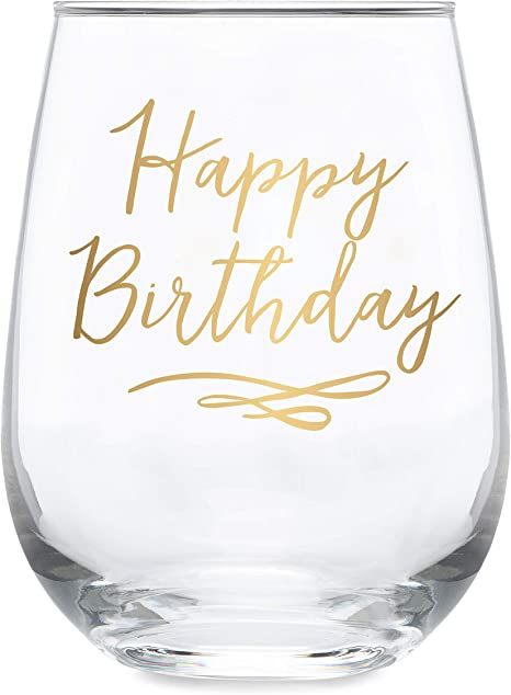 Happy Birthday Glass