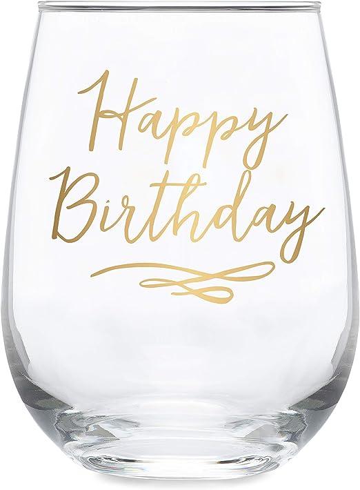 Happy Birthday Gold Imprint 17 oz Stemless Wine Glass with Metallic