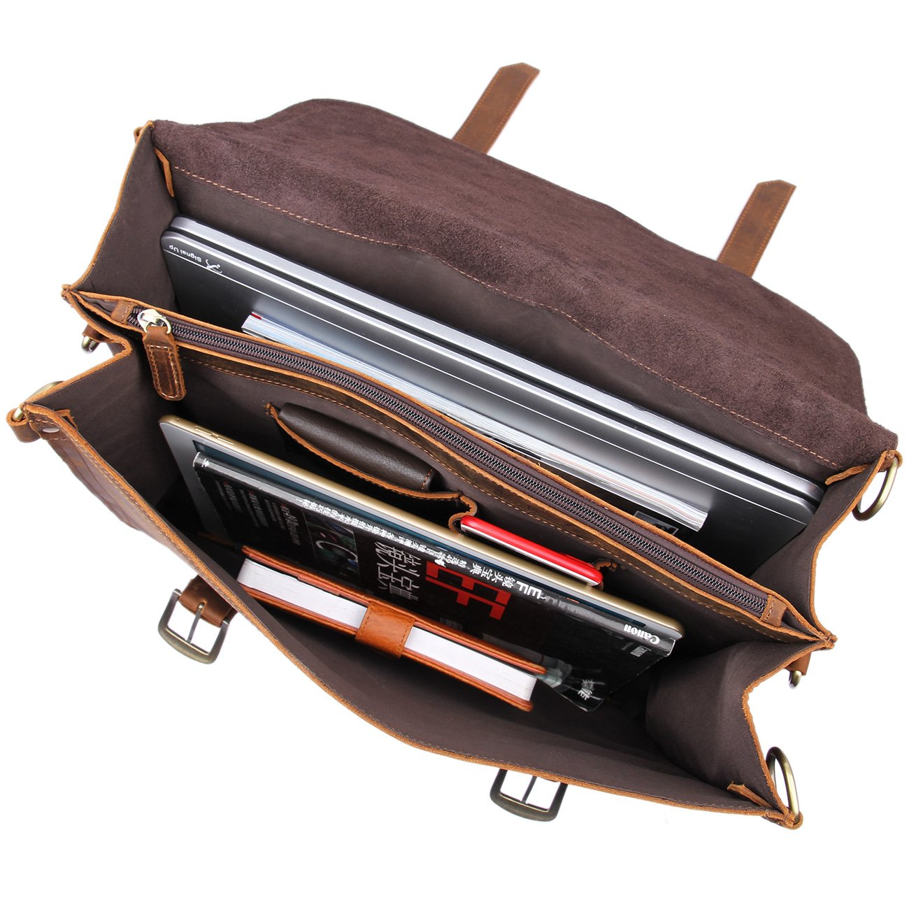 Texbo Men's Thick Cowhide Leather Messenger Bag, 16.5'' Laptop Briefcase by Texbo (Image #4)