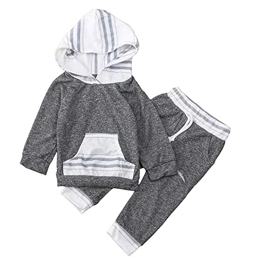 Amazon.com: Lavany Baby Clothes Set 2PC Boys Girl Stripe Hoodie Tops ...