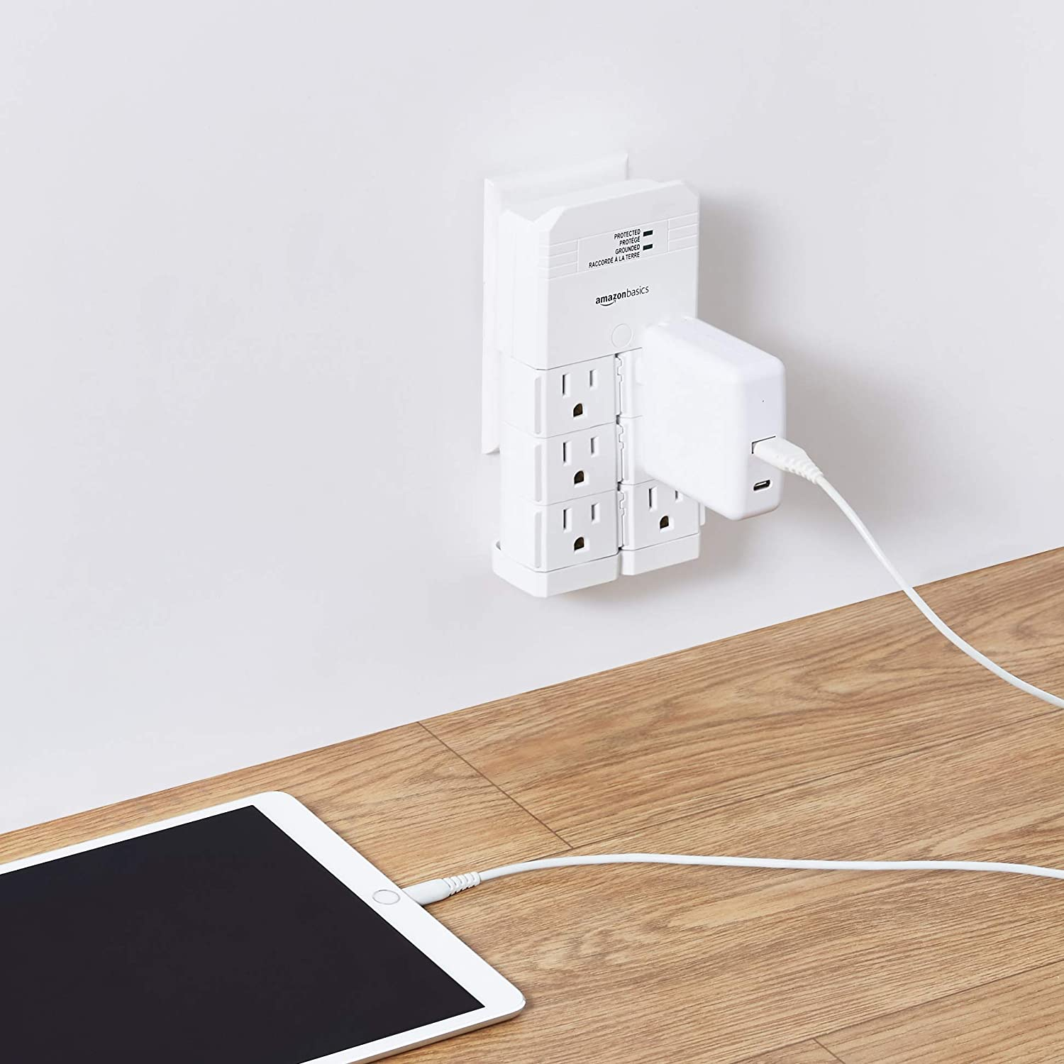 1080 Joules Basics Rotating 6-Outlet Surge Protector Power Strip with 2 USB Charging Ports
