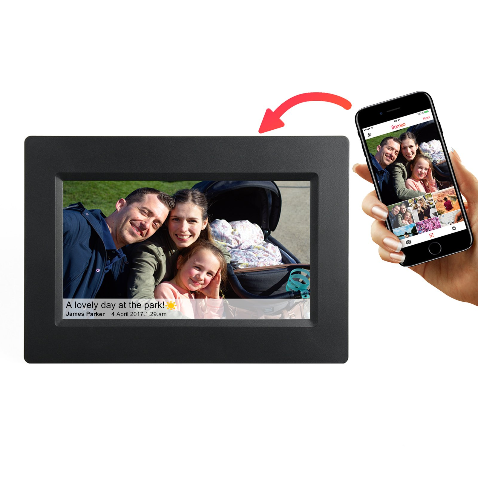 Feelcare 7 Inch Smart WiFi Digital Picture Frame with Touch Screen, IPS LCD Panel,