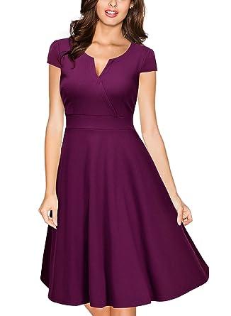 7ee1360230d Miusol Women s Retro V Neck Cap Sleeve 1950 S Cocktail Evening Swing Dress  (Small