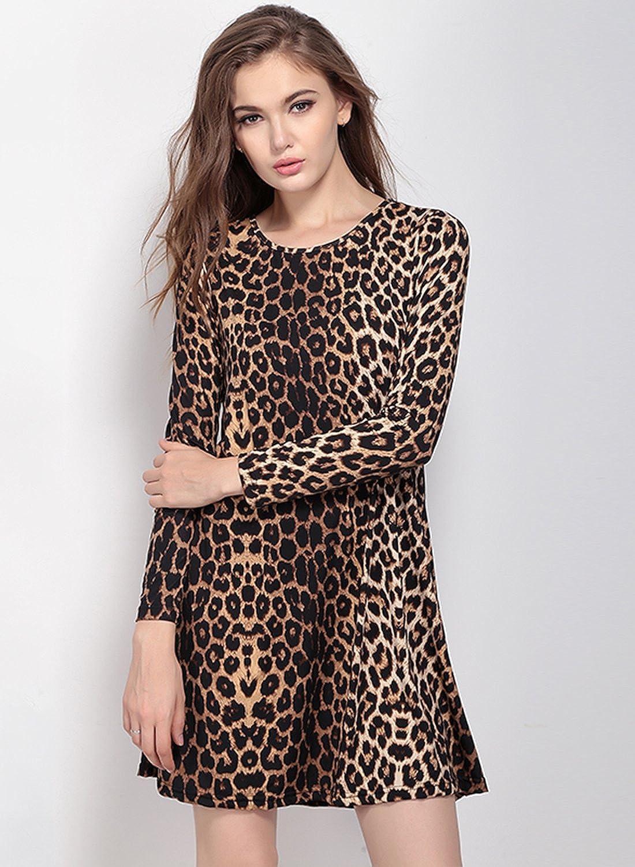 ACHICGIRL Women's Leopard Print Long Sleeve A-Line Dress