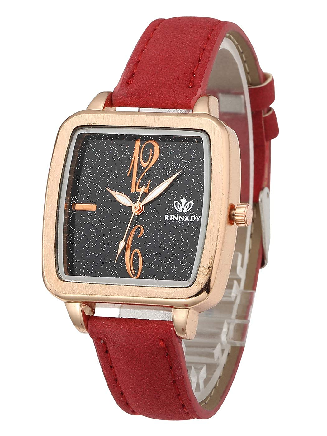 1f41406b0 Amazon.com: Top Plaza Women Watches Red Leather Band Rose Gold Square Case  Analog Quartz Dress Watches Girls Ladies Wristwatch,Arabic Numerals #2:  Watches