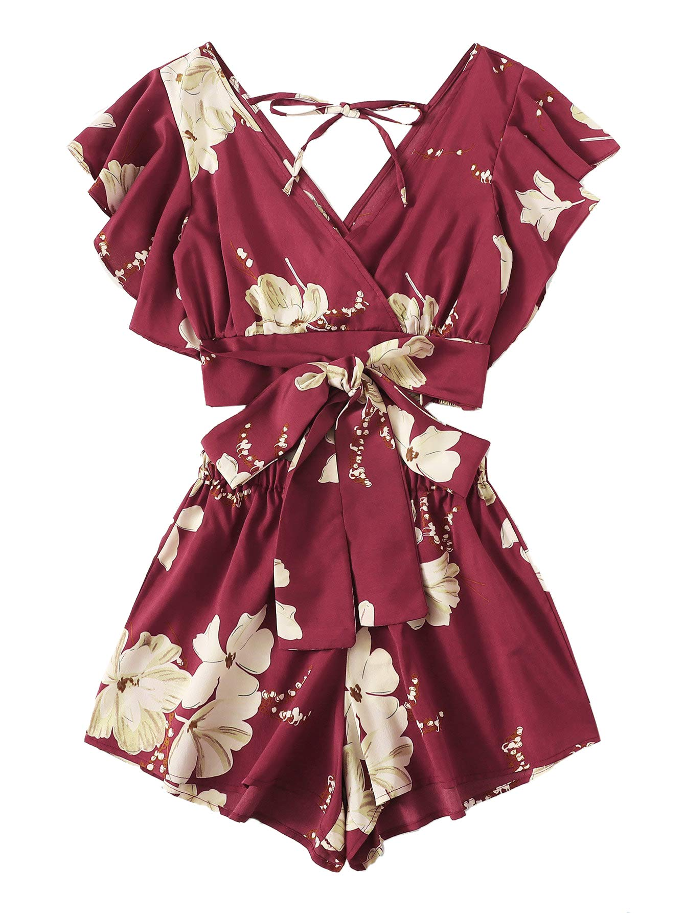 SweatyRocks Women's 2 Piece Boho Butterfly Sleeve Knot Front Crop Top with Shorts Set