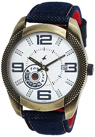 2dd0e66ec Image Unavailable. Image not available for. Colour  Fastrack Denim Analog  White Dial Men s Watch-3187QL01
