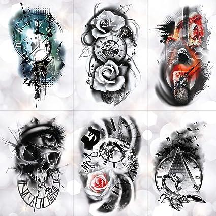 Etiqueta Engomada Del Tatuaje Temporal Tiempo De Rosa Cráneo Reloj ...
