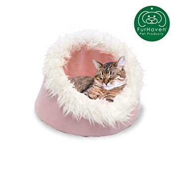 Amazon.com: furhaven Pet Nap gato cueva mascota cama con ...