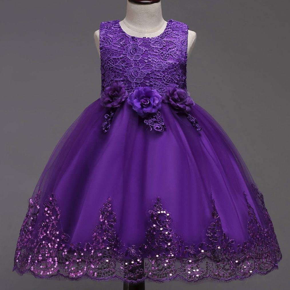 Kavitoz Clearance ✿For 0-8 Years Old✿ Newest Kid Baby Girl Princess Tutu Floral Print Dress Bridesmaid Pageant Gown Birthday Party Wedding Dress (Purple, ...