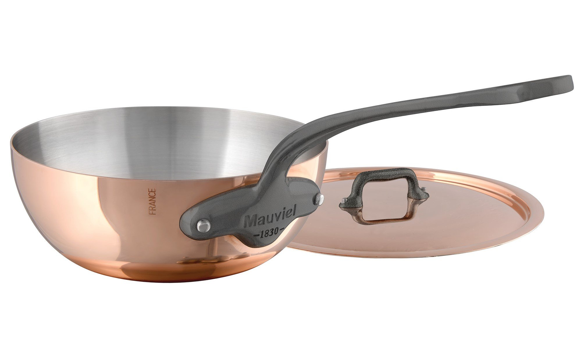 Mauviel M'Heritage M150C 6452.21 Curved Splayed Copper Saute Pan with Lid. 1.8L/1.9 quart 20cm/8'' with Cast Stainless Steel Iron Eletroplated  Handle