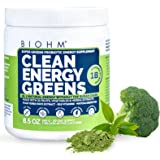 BIOHM Clean Energy Greens - 30 Servings - with Probiotics, Super Greens Superfood, 31 Natural Fruit, Vegetable and Herbal Ext