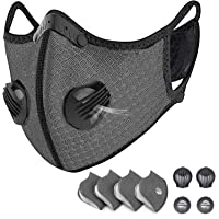 Reusable Dust Face M Earloop Dust M, Protective M with Activated Carbon Filter and Valves for Allergy, Woodworking, Mowing, Outdoor Activities, Etc (Grey)