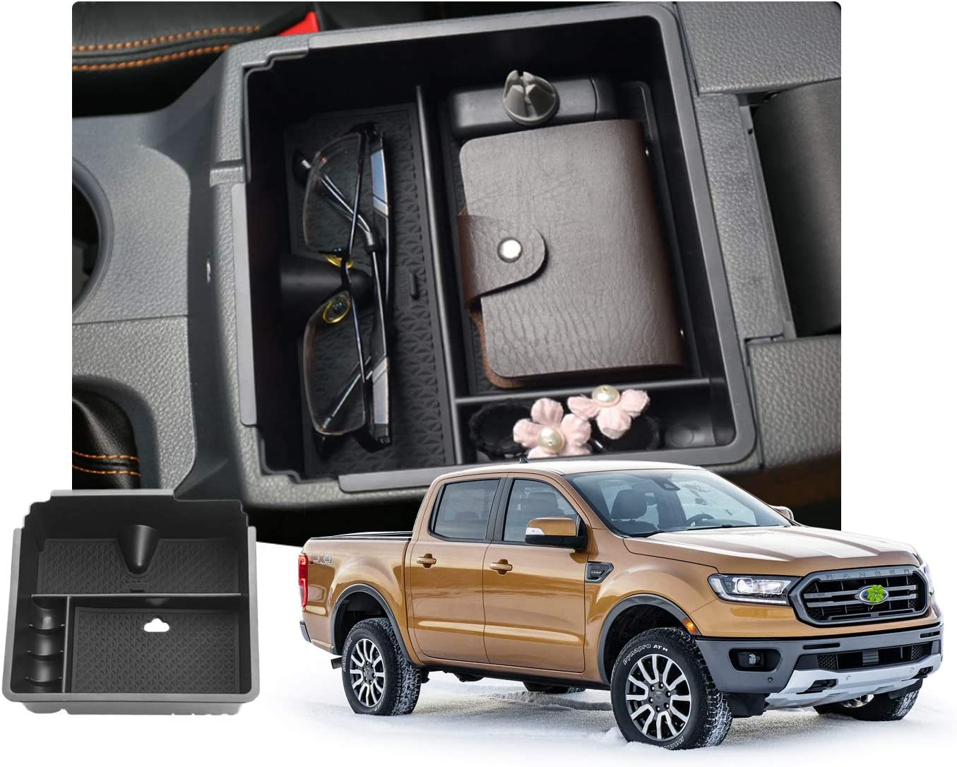 Customized for 2019 2020 Ford Ranger Car Center Console Armrest Box Glove Secondary Storage Console Organizer Insert Tray with Coin and Glass Holder