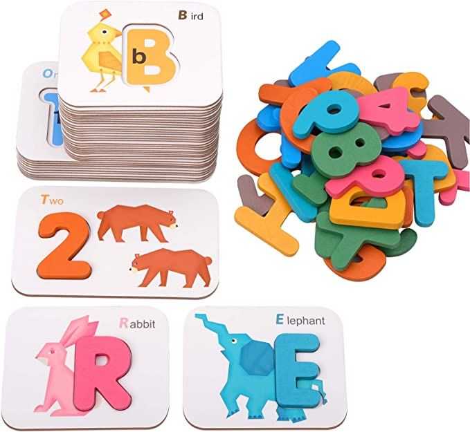 Matching Letter Number Words Spelling Math Learning Toy with 32 Flash Cards 3 4 5 6 7 8 Year Old Girl Boy Gift for Holiday Birthday Brilliant Yellow Conzy Educational Toys for Kids 5-7 Preschool