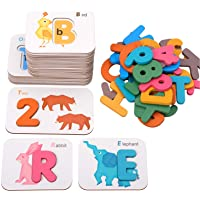 Coogam Alphabets And Numbers Flash Cards, Wooden Letters Abc Animal Matching Puzzle Colors Sorting Game, Preschool…