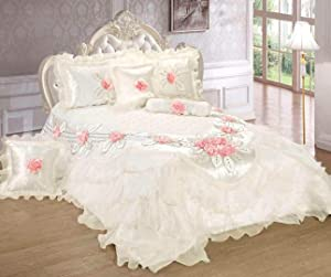 Tache Home Fashion Delicate Rose 6 Piece Floral White Satin Ruffles Pin Flowers Luxurious Comforter Set, Queen