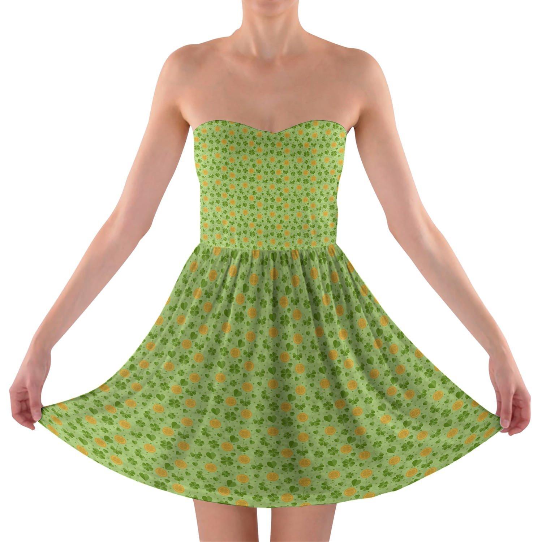 Lucky Clovers Strapless Bra Top Dress Trägerlos Sommerkleid XS-3XL