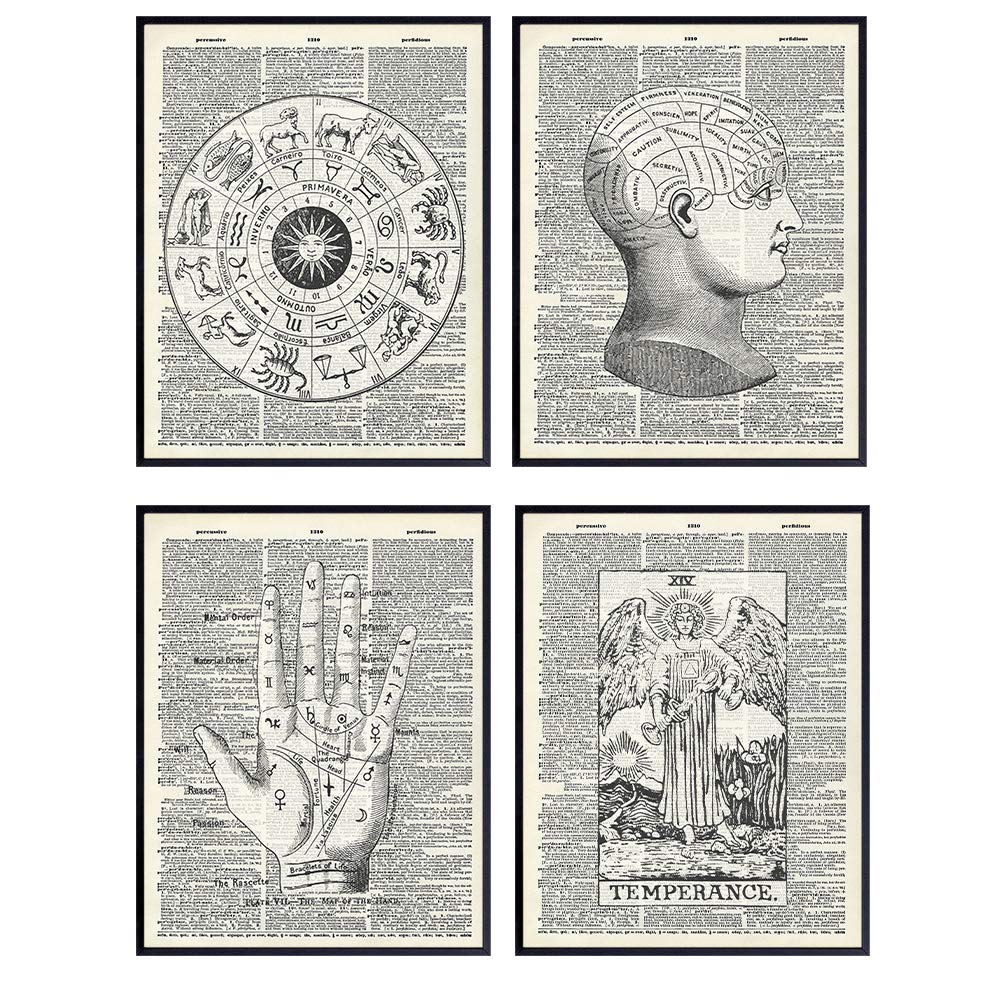 Zodiac Sign, Astrology, Tarot, Occult, Palm Reading, Palmistry, Phrenology, Tarot Wall Art - Vintage Mystical Arts Home Decor Set - Unique Goth Steampunk Gift for Psychic - Dictionary Photo