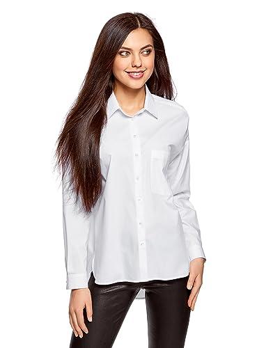 oodji Ultra Mujer Camisa Ancha de Algodón