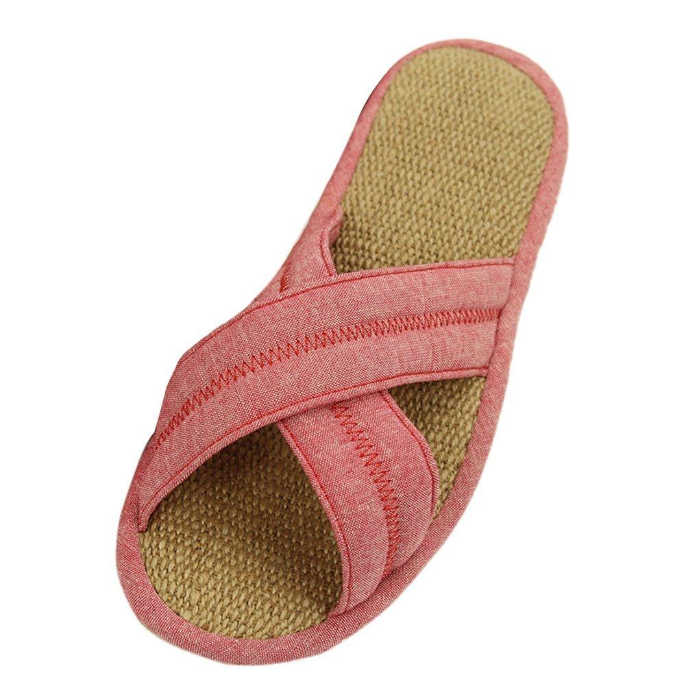 ホームスリッパレディースユニセックス快適サンダルスリッパ B01FJ8NBXU US 7(sole length:10in)|Pink Cross Straps Pink Cross Straps US 7(sole length:10in)
