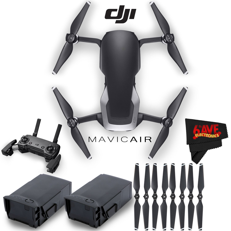 DJI Mavic AirクアッドコプターFly Moreコンボ(オニキスブラック) +予備プロペラ+予備バッテリーアクセサリーバンドル B07BHY6FK1