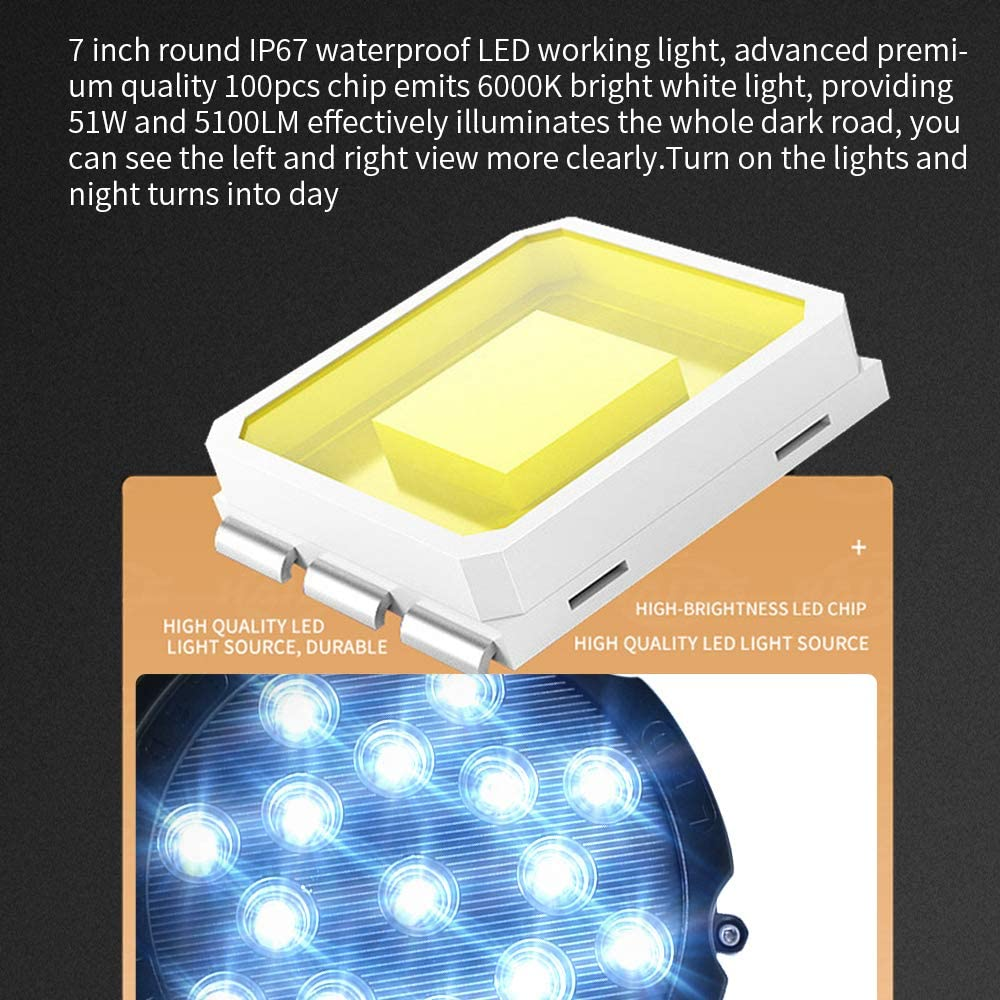 2 PCS 51W Redondo Foco de luz LED de Trabajo Luz de Trabajo LED de Largo Alcance Impermeable IP67 Spot Flood Luces LED Antiniebla 5100LM Luces de Trabajo para Coche// Motocicleta//SUV//Tractor