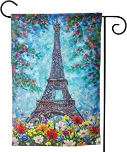 Delerain Eiffel Tower Spring Flowers Garden Flag, 12.5 x 18 Inch Double Sided Design Weather Resistant Indoor & Outdoor Decoration Small Banner for Home Yard Lawn Patio Office