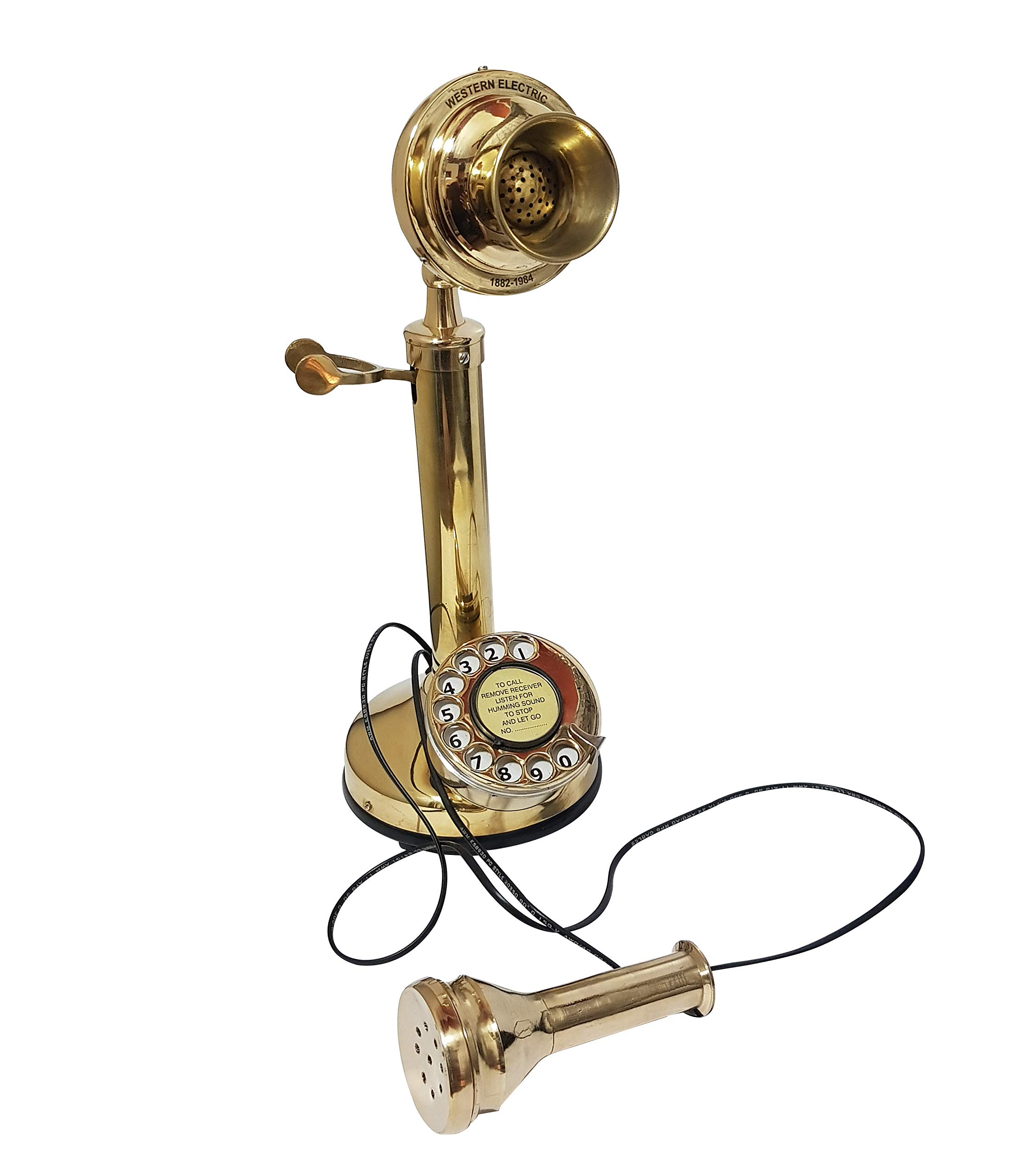 collectiblesBuy Antique Finish Working Candlestick Telephone, Old Phone with a Rotary dial by collectiblesBuy